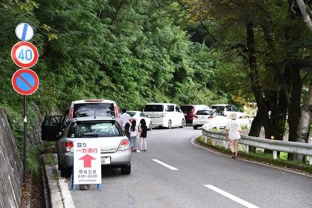 公園から50mほど先から縦列駐車の列