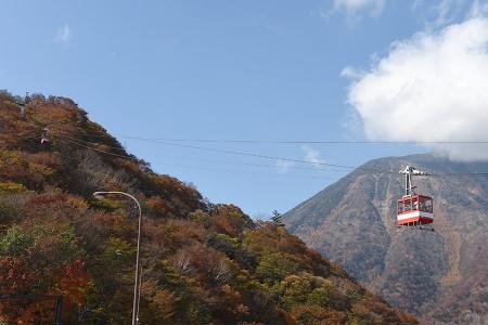 男体山をバックに展望台へ上るロープウェイ