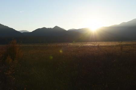 日が暮れる瞬間の戦場ヶ原