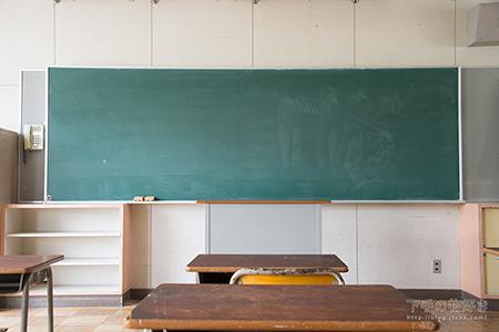 黒板に向いて立っているカット